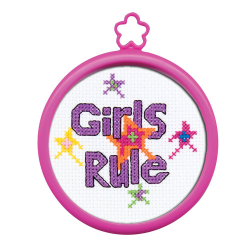 "My 1st Stitch Girls Rule Mini Counted Cross Stitch Kit-3"" Round 14 Count"