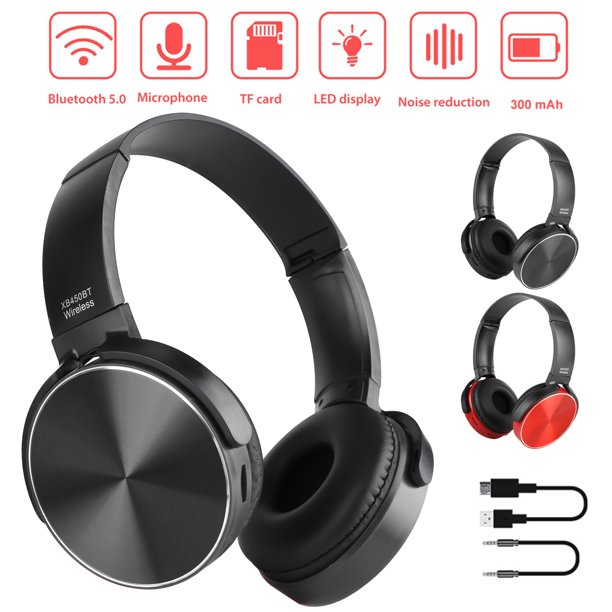 Bluetooth Headphones Tsv Stereo Wireless Bluetooth Headphones Over Ear With Noise Cancelling Mic Wired Stereo Gaming Headset Fit For Nintendo Switch Ps4 Xbox One Pc Android And Ios Black Red Walmart Com