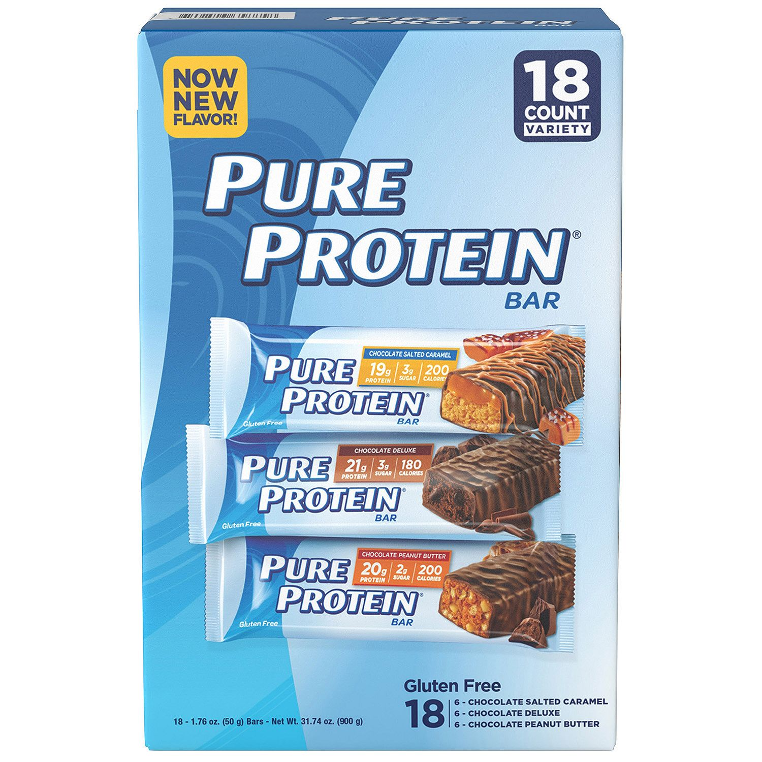 Pure Protein Bar, Variety Pack, 21g Protein, 18 Ct