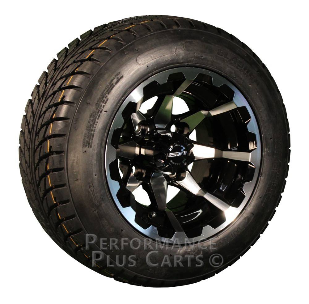 "HD6 10"" Black / Machined Golf Cart Wheels with Low Profile Street Tire Package"