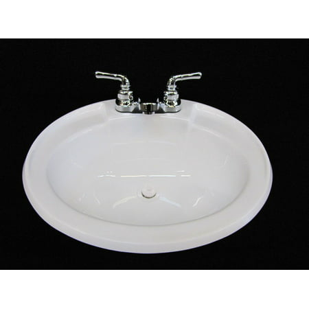 Mobile Home RV Parts Bathroom Lav White Sink w/ Chrome Faucet 20x17 inc hardware
