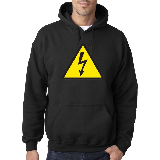 Trendy USA 1466 - Adult Hoodie High Voltage Warning Sign Electrical Shock Caution Sweatshirt Small Black