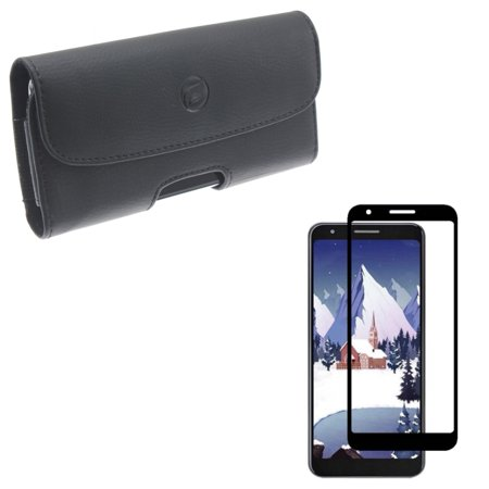 Screen Protector Tempered Glass w Case Belt Clip Leather for Google Pixel 3a - 3D Curved Edge Full Cover, Holster Cover Pouch (Pixel Gun 3d Best Skins)