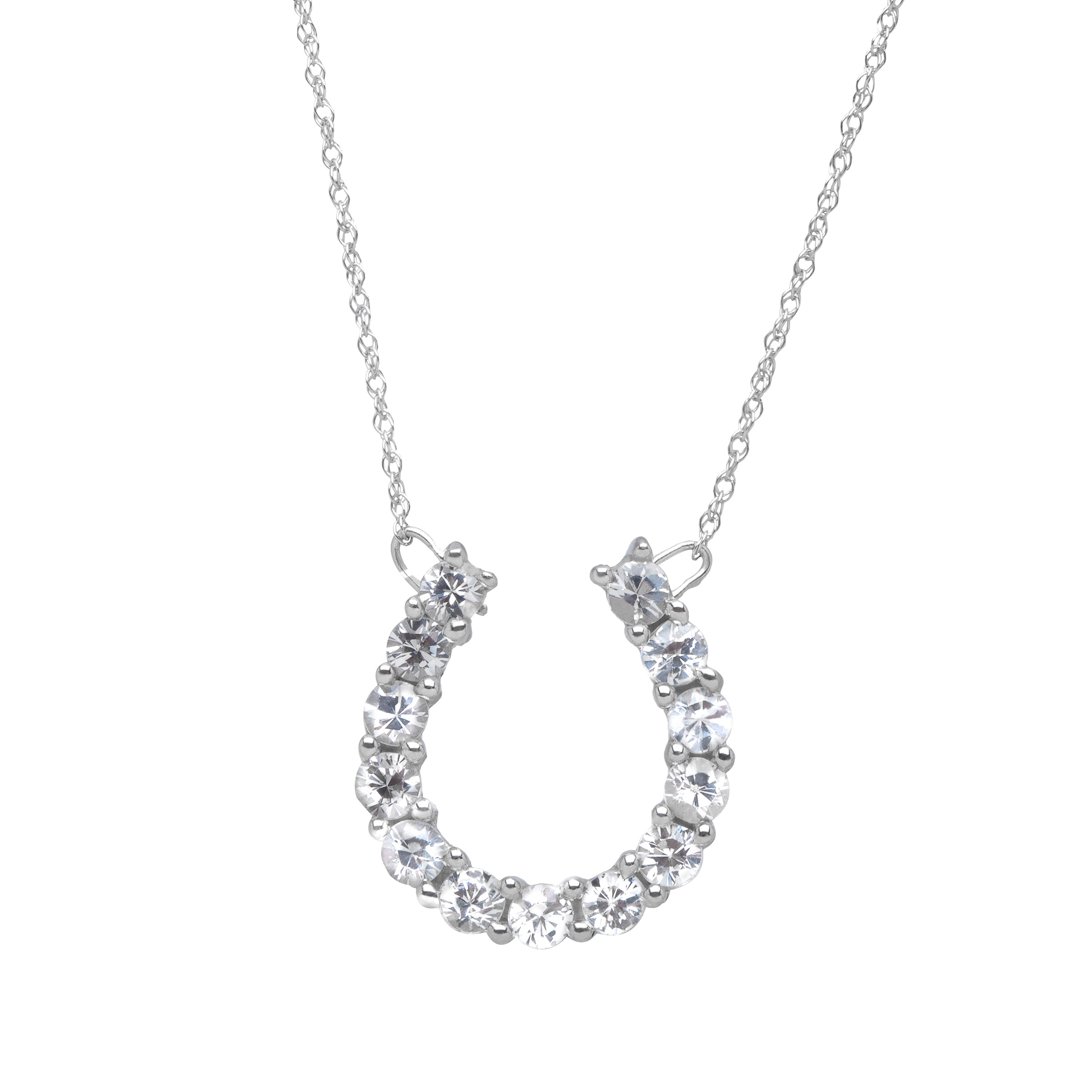 1 ct Created White Sapphire Horseshoe Necklace in 10kt White Gold by Richline Group