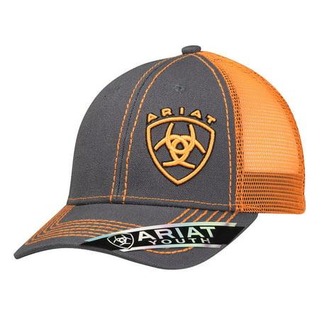Ariat Kid's Orange Signature Logo Cap Grey Orange -