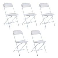 5pcs Portable Plastic Folding Chairs White