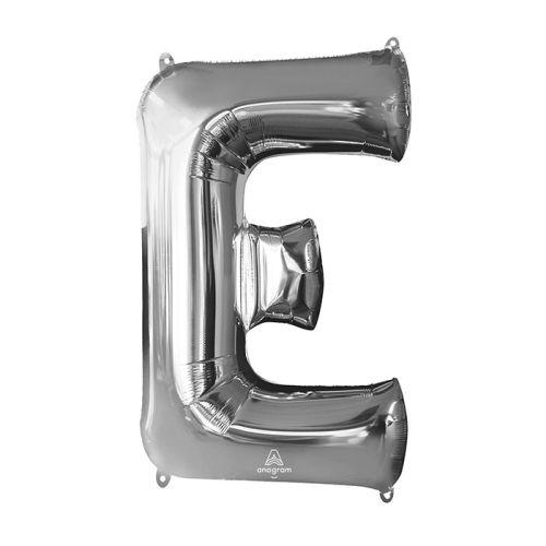 """Burton & Burton 32"""" Letter E Silver Balloon"""