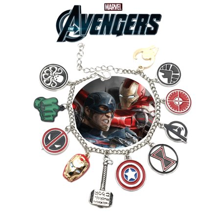 Avengers Logo Charm Bracelet Movie Series Jewelry Multi Charms - Wristlet - Superheroes Brand Marvel Movie Collection