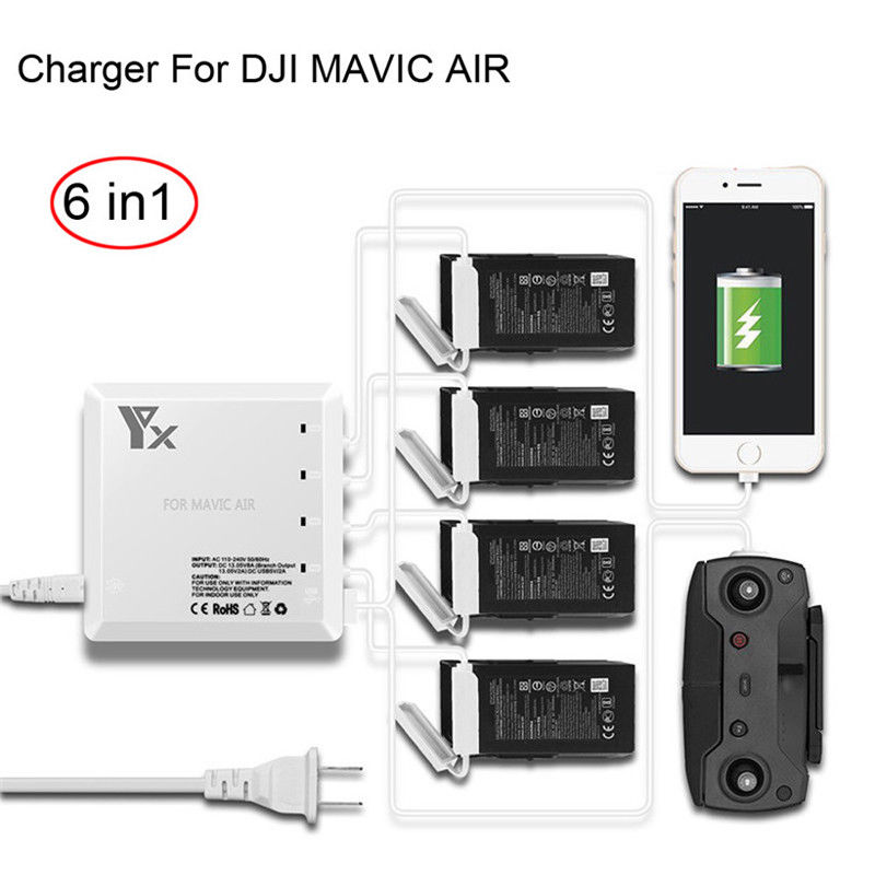 6 In 1 Small Size Dual USB 4 Battery Ports Battery Balance Charger Hub Suitable For DJI MAVIC AIR Drone