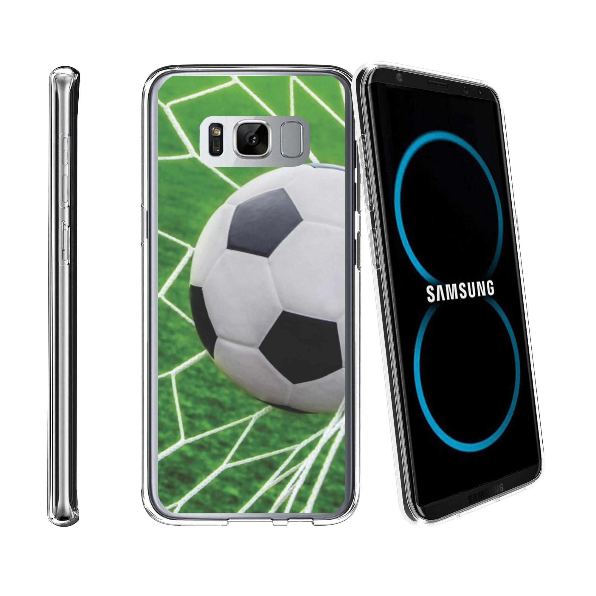 Case for Samsung Galaxy S8 Plus | Galaxy S8 Plus Transparent Silicone Case [ Flex Force ] Flexible Clear Case Soccer Collection