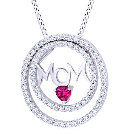 Round Cut Simulated Pink Ruby With White Sapphire Mom Dual Circle Pendant Necklace In 14K White Gold Over Sterling (Pink Sapphire Circle Pendant)
