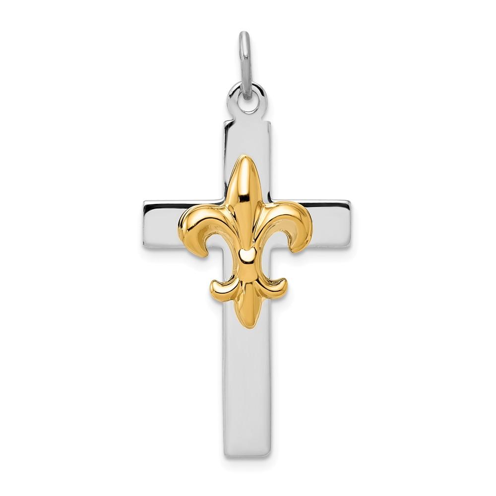 Sterling Silver & Gold-tone Fleur De Lis Cross Pendant
