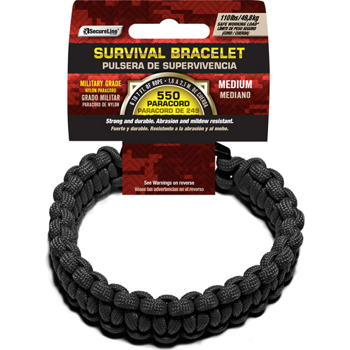 "SecureLine 550 lb Military Grade Paracord Survival Bracelet, Medium, 8.5"", Black"