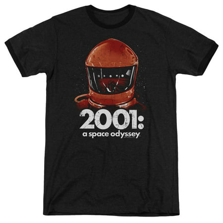 2001 A Space Odyssey Space Travel Adult Heather Ringer Shirt (Black, Medium) - Adult Space
