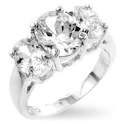Genuine Rhodium Plated to Anniversary Ring with Clear Cubic Zirconia in Silvertone - Size 10