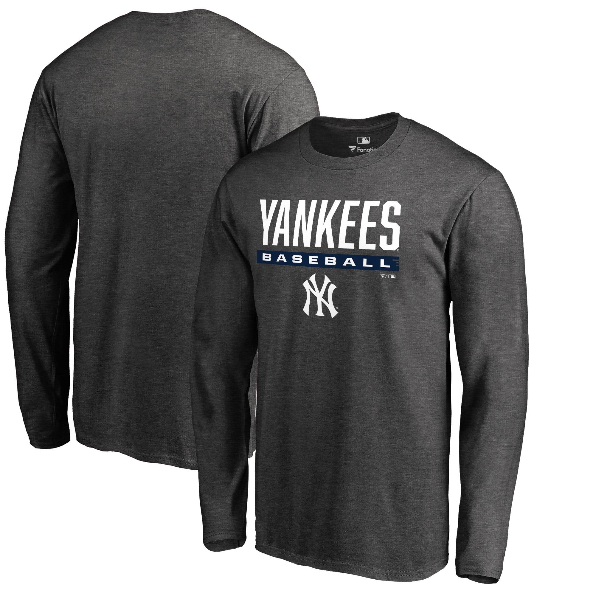 New York Yankees Fanatics Branded Win Stripe Big & Tall Long Sleeve T-Shirt - Heathered Charcoal