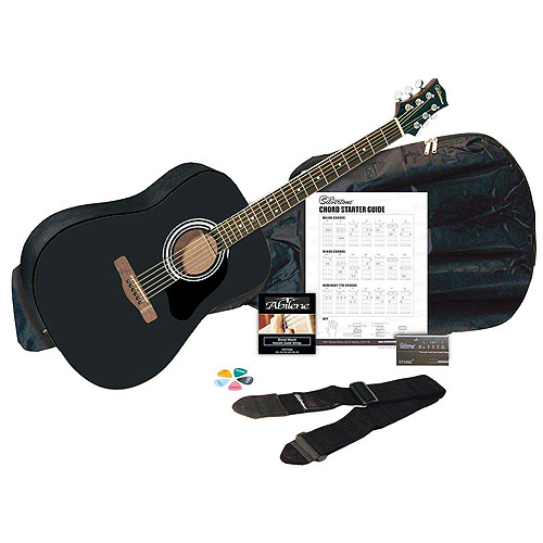 Silvertone SD3000 Black Acoustic Guitar Package with Tuner, Gig Bag. Guitar Strap. Strings, Picks and Chord Chart