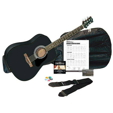 Silvertone SD3000 Black Acoustic Guitar Package with Tuner, Gig Bag. Guitar Strap. Strings, Picks and Chord Chart for $<!---->