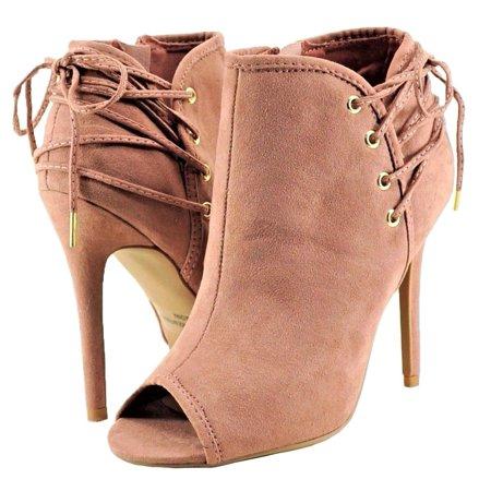 Qupid Ara 277 Women's Shoes Peep-Toe Zip Laced Ankle Bootie Heels -