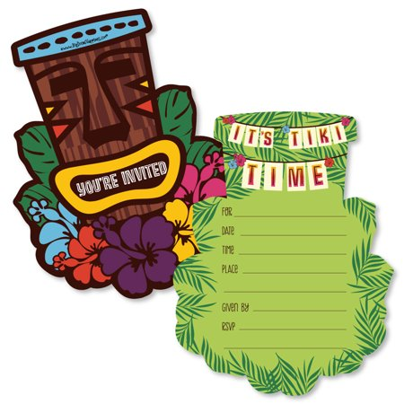 Tiki Luau - Shaped Fill-In Invitations - Tropical Hawaiian Summer Party Invitation Cards with Envelopes - Set of 12 - Luau Invitation Ideas