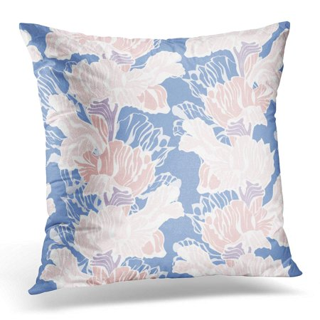 Iris Border - ECCOT Blossom Blue Abstract Stylish Floral Pattern with Iris Flowers Pastel Colored Pink Beautiful Border Pillowcase Pillow Cover Cushion Case 18x18 inch