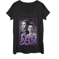Star Wars The Force Awakens Women's Leia and Rey Rule the Galaxy Scoop Neck T-Shirt