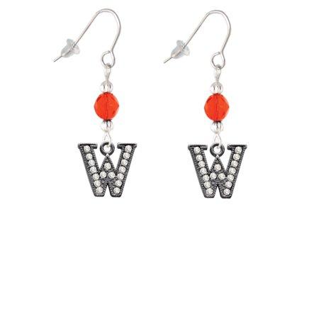 Crystal Black Initial - W - Beaded Border - Orange Bead French Earrings ()