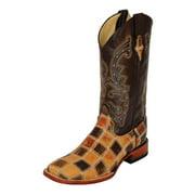 Western Boots Mens Cowboy Patchwork S Toe Choc 11393-15