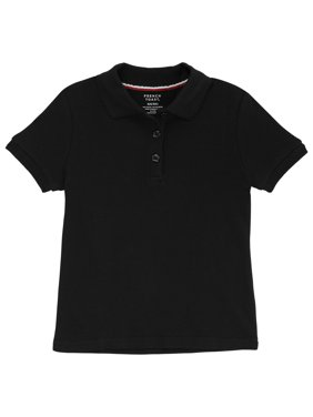 French Toast Girls School Uniform Short Sleeve Picot Collar Interlock Polo Shirt, Sizes 4-20 & Plus