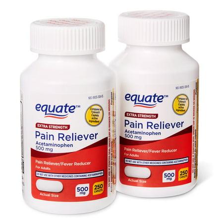 Equate Extra Strength Pain Reliever Acetaminophen 500mg Caplets,
