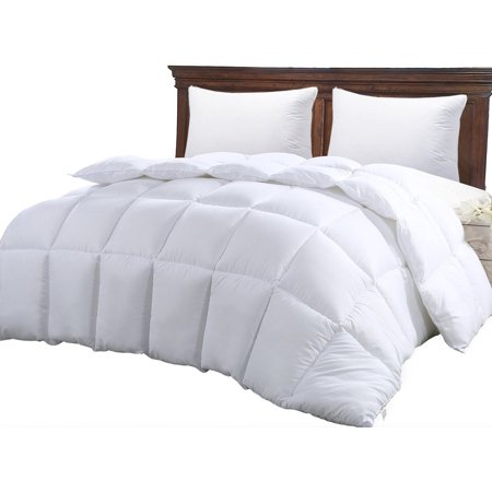 Down Alternative Comforter Duvet Insert Queen White Solid - Hypoallergenic, Plush Siliconized Fiberfill, Box Stitched Exclusively by Scala Home