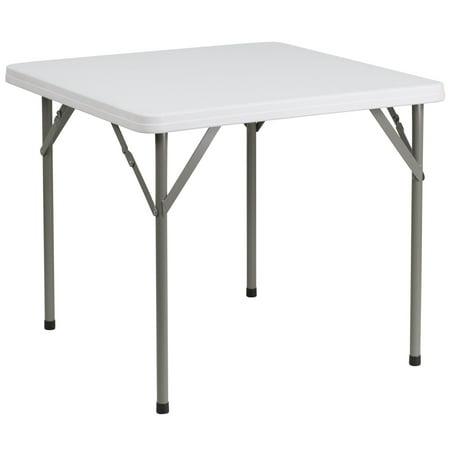 34-inch Square Granite White Plastic Folding Table ()