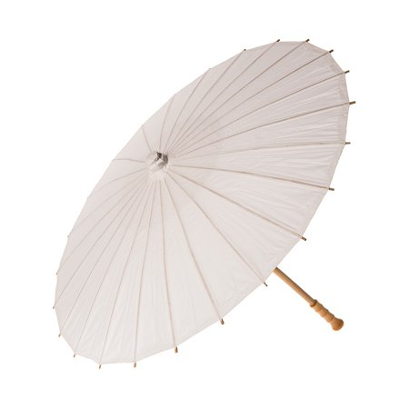 Paper Parasol (32-Inch, Perfect White) - Chinese/Japanese Paper Umbrella - For Weddings and Personal Sun Protection - Parasols For Sale