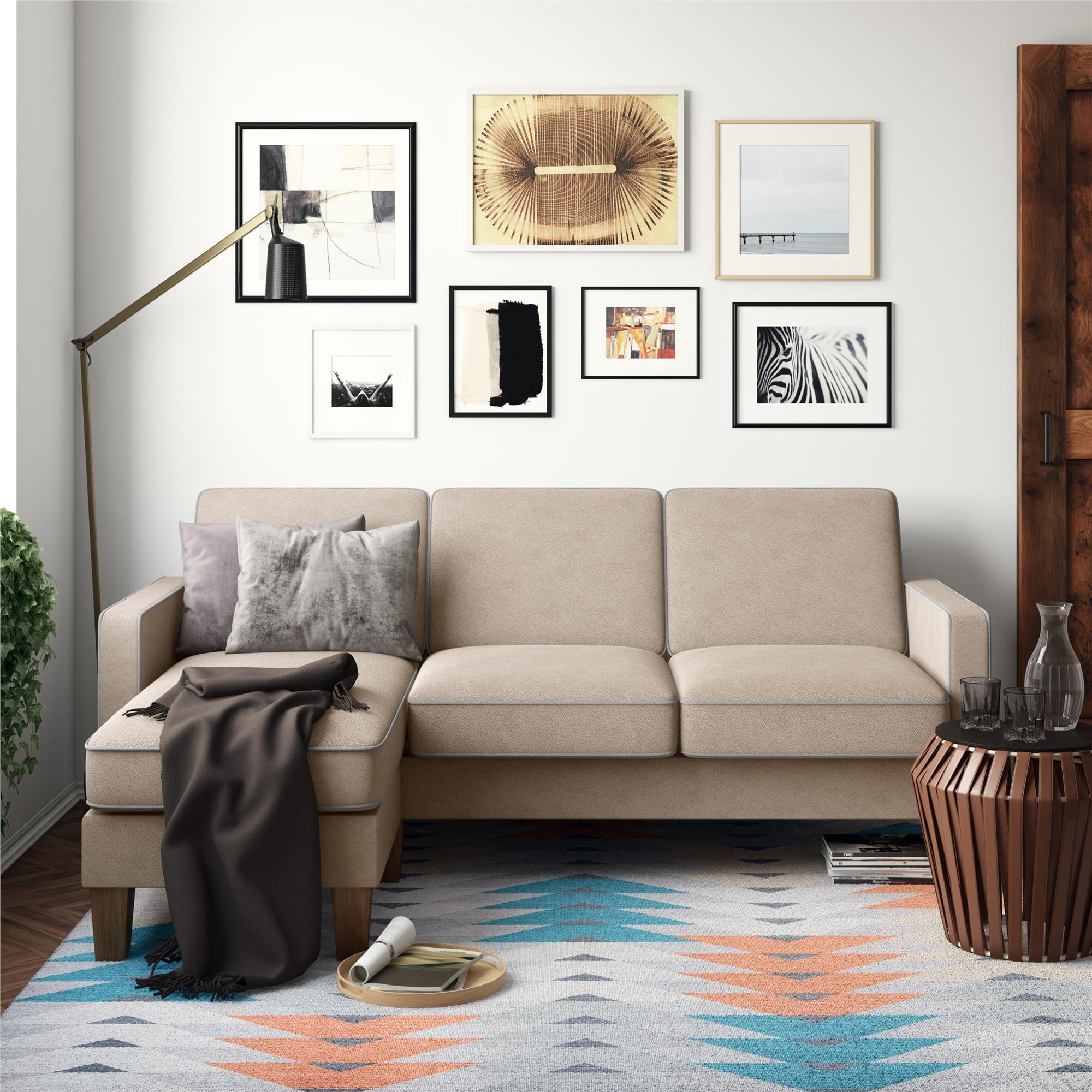 Novogratz Bowen Sectional Sofa with Contrast Welting, Blue