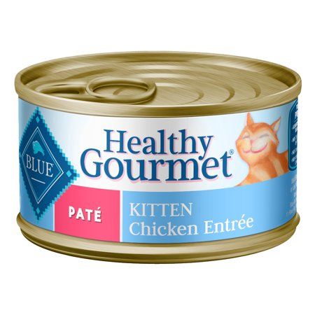 (24 Pack) Blue Buffalo Healthy Gourmet Natural Kitten Pate, Wet Cat Food, Chicken Entree, 3 oz. cans ()