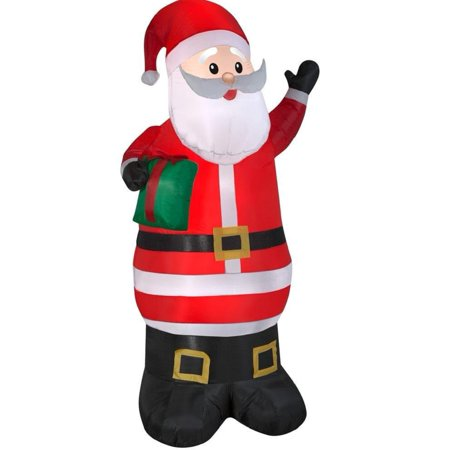 6.5 foot Gemmy Christmas Airblown Inflatable LED Santa Claus with Gift Box (Present)