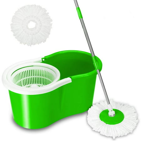 360°Spin Mop with Stainless Steel Bucket System with Extended Length Handle and 2 Microfiber Mop Heads, Magic Spinning Mop Cleaning System for Home Kitchen Floor