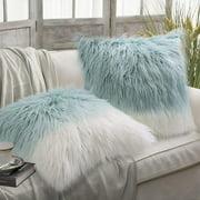 "Phantoscope Merino Style Faux Fur Series Decorative Throw Pillow, 18"" x 18"", Blue White, 2 Pack"