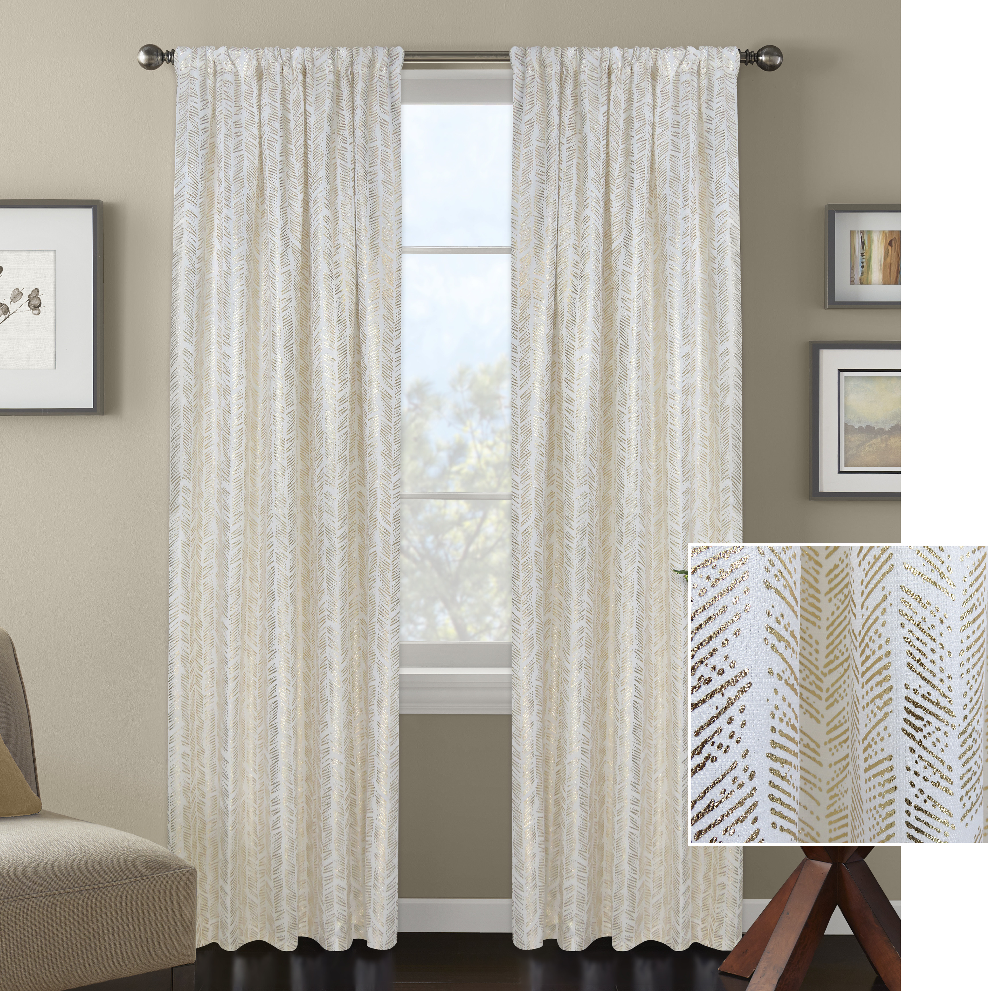 Better Homes and Gardens Distressed Herringbone Metallic Gold or Silver Window Curtain Panel