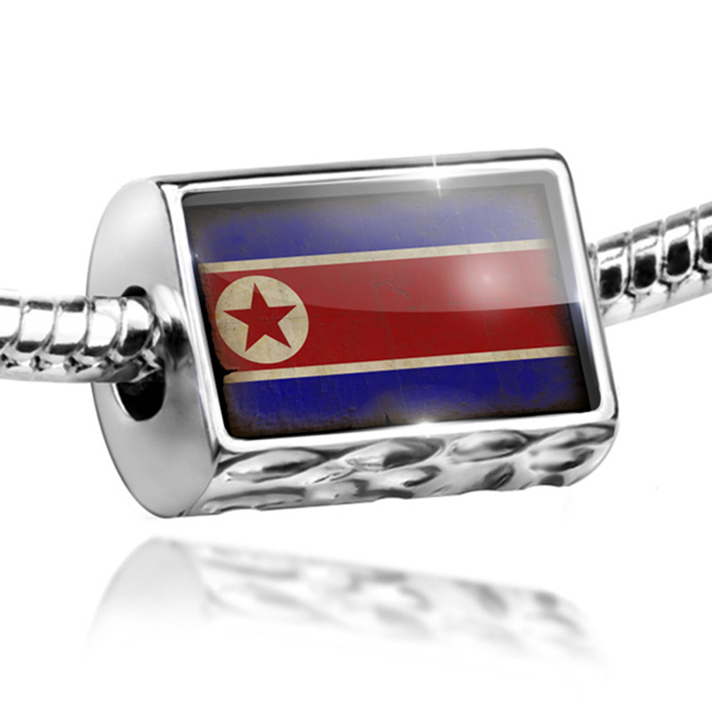 Bead North Korea Flag with a vintage look Charm Fits All European Bracelets by NEONBLOND