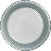 Shimmering Silver Plastic Dessert Plates, 18-Pack