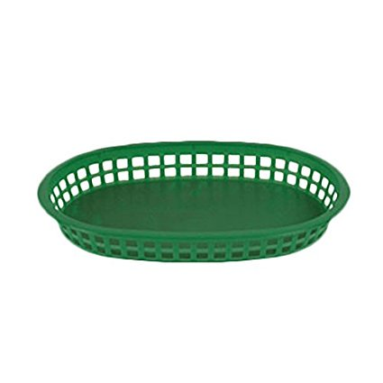 Thunder Group PLBK1034R, 10-1/2 x 7 Inches Oval Polypropylene Fast Food French Fries Basket, Red Plastic Bread Basket, 12-Piece Pack](Plastic Food Baskets)