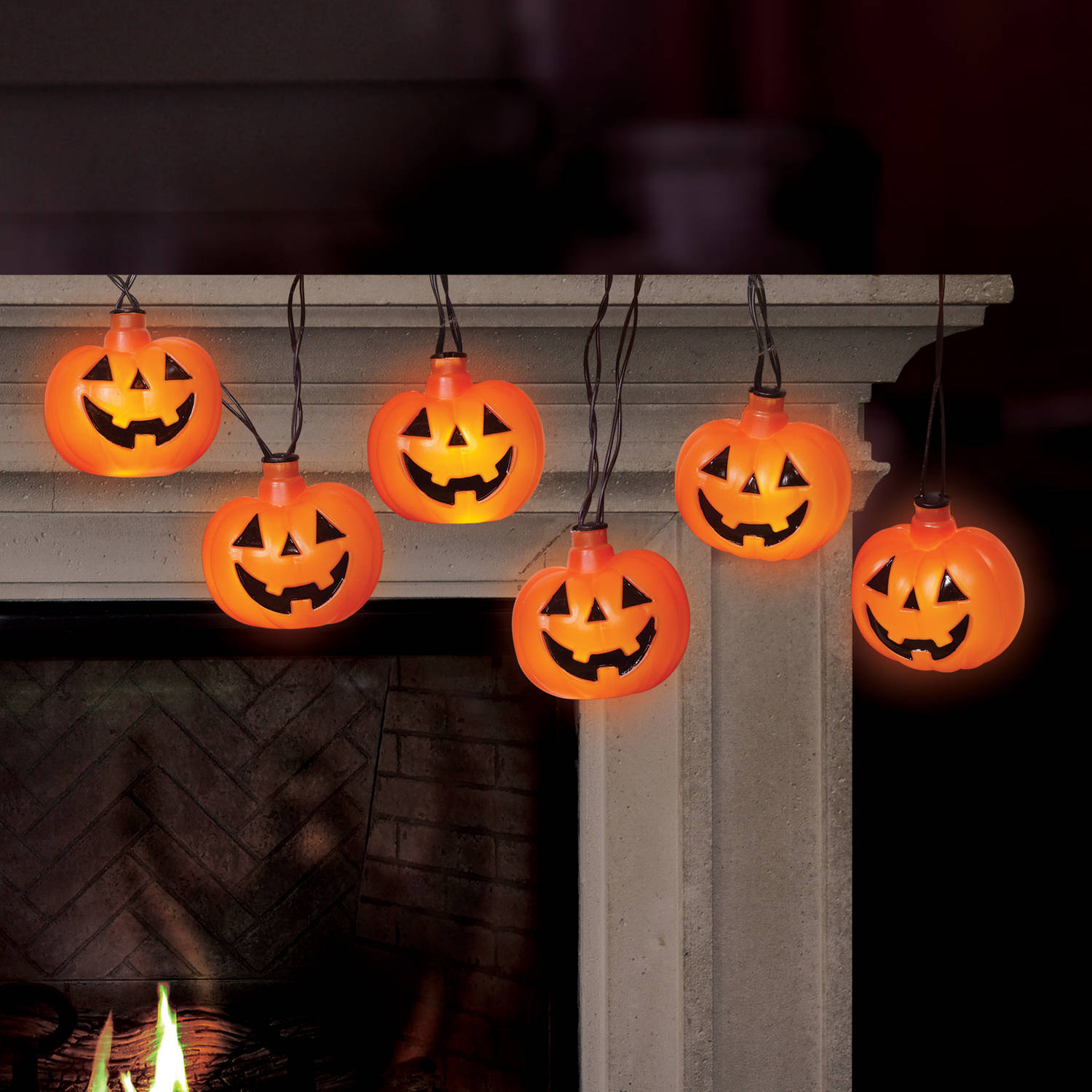 Battery-Operated Pumpkin LED Halloween Lights with Spooky Sound ...