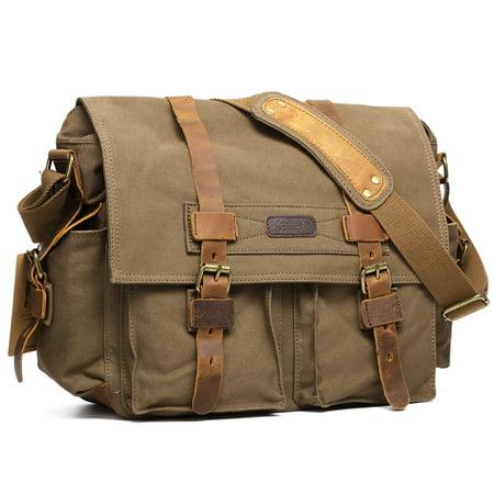 Slr Camera Bag - Kattee Canvas Cow Leather DSLR SLR Vintage Camera Shoulder Messenger Bag