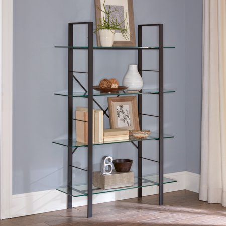 Mainstays Tahoe 4-Tier Metal and Glass Storage Bookcase, 60