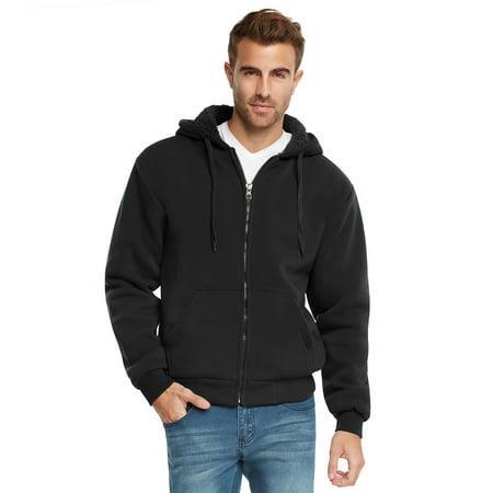 9 Crowns Essentials Mens Full Zip Sherpa Lined Fleece Hoodie