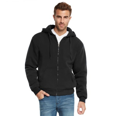 9 Crowns Essentials Mens Full Zip Sherpa Lined Fleece Hoodie Jacket ()