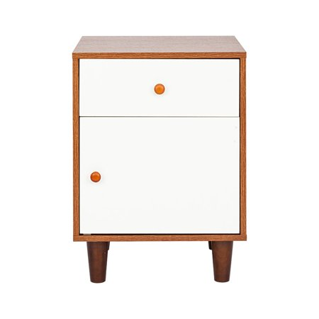 HBUDS Walnut Color & White Nightstand, Bedside Table with Drawer and Storage Locker, End Table for Bedroom Living Room