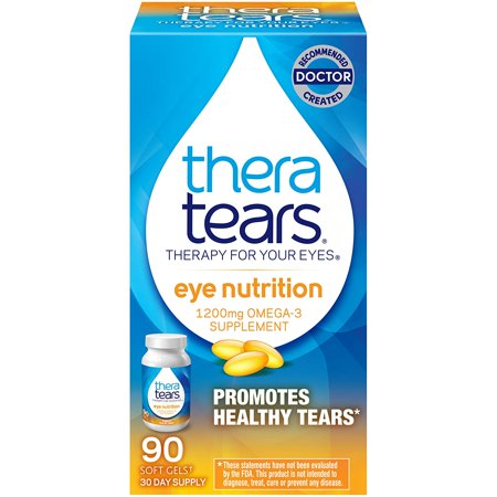 TheraTears 1200mg Omega 3 Supplement for Eye Nutrition, Organic Flaxseed Triglyceride Fish Oil and Vitamin E, 90
