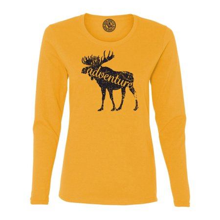 Moose Adventure Camping Hiking Womens Long Sleeve T Shirt ()